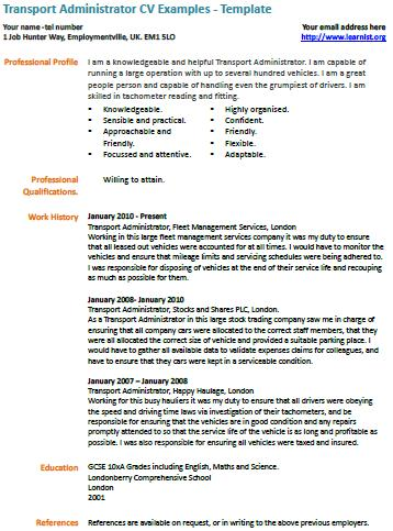 Transport Administrator Cv Example  LearnistOrg