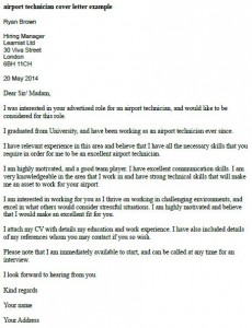 Perfect Airport Technician Cover Letter Example