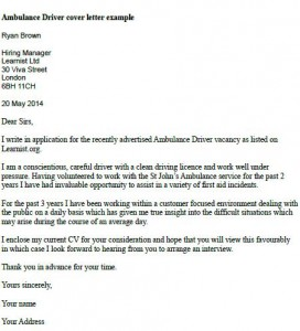 ambulance driver cover letter example