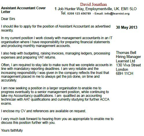 Junior accountant cover letter no experience for Cover letter for assistant accountant position