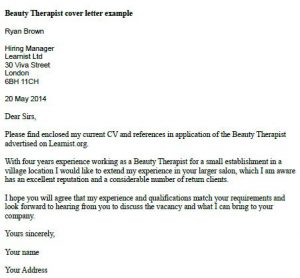 Cover Letter For Cv Beauty