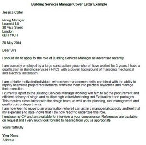 building services manager cover letter example learnistorg - Construction Management Cover Letter Examples
