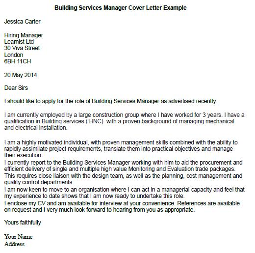 building services manager cover letter example