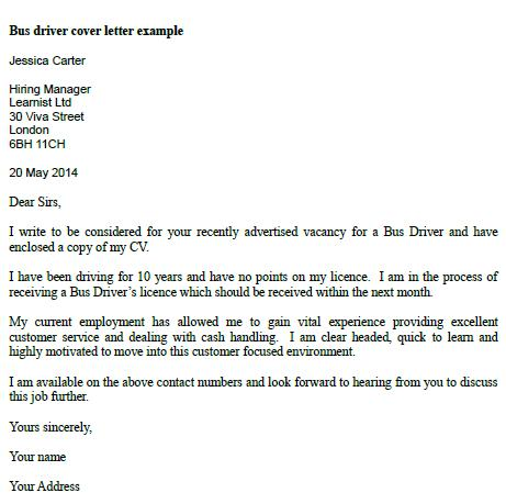 cover letter for driving job
