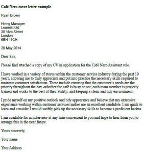 Entry-Level Waiter Cover Letter Sample