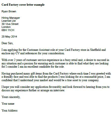 Card Factory Cover Letter Example - Learnist.org