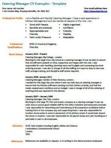 Catering Manager Cv Example  Catering Manager