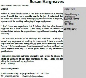 catering porter cover letter example