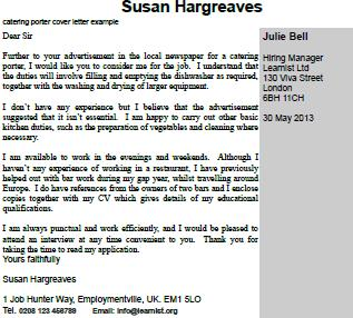 catering porter cover letter example learnist org