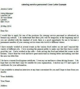 covering letters catering service personnel cover letter example by h