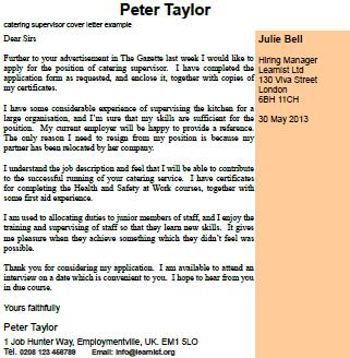 covering letters catering supervisor cover letter example by h durak