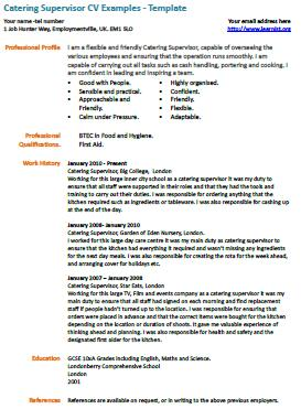 Catering Supervisor CV Example - Learnist.org