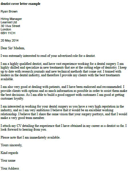 application letter dentist