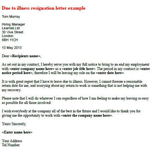 Due To Ilness Resignation Letter Example