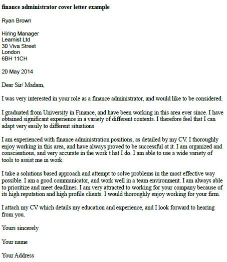 Finance administrator cover letter example for Sample cover letter for finance and administration manager