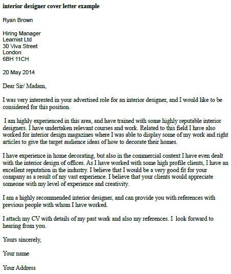 Interior Designer Cover Letter Example Learnist Org