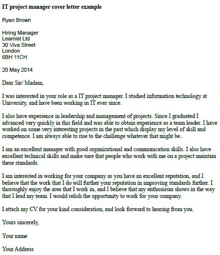 project manager cover letter it project manager cover letter example learnist org 1549