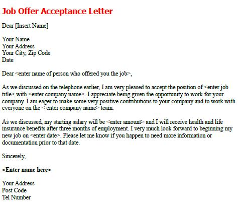 Job Offer Acceptance Letter Sample - forums.learnist.org