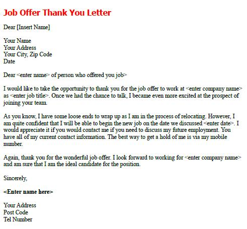 Job Offer Thank You Letter forumslearnistorg – Thank You Letters for Job Offer