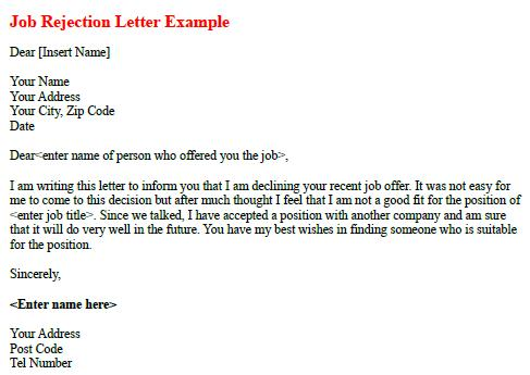 Job Rejection Letter Example forumslearnistorg – Rejection Letter Sample