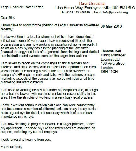 Application letter for a cashier post