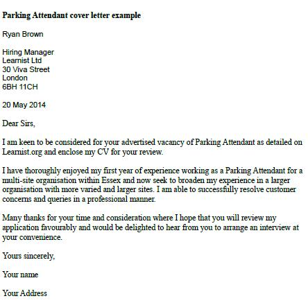 parking attendant cover letter example