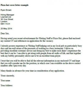 Pizza Hut Cover Letter Example Learnist Org
