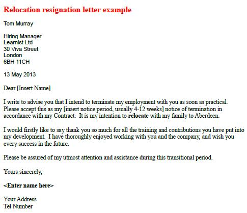 Relocate - Relocation Resignation Letter - Learnist.org