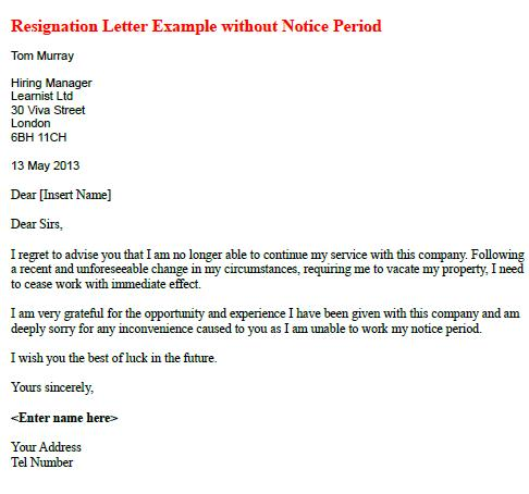 Resignation Letter Example Without Notice Period - Learnist.org