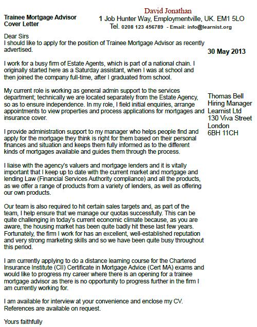 Trainee Mortgage Advisor Cover Letter Example - Learnist.org