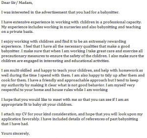 babysitter cover letter samples