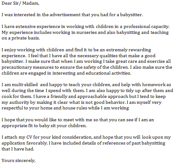 babysitting job application letter