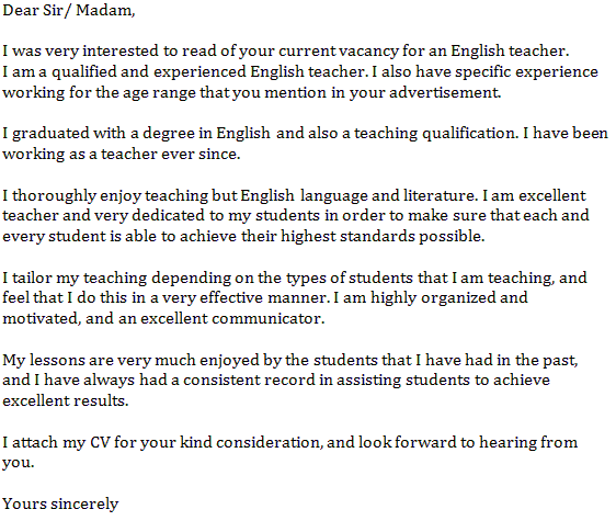 English Teacher Cover Letter Example  Teacher Cover Letter Example