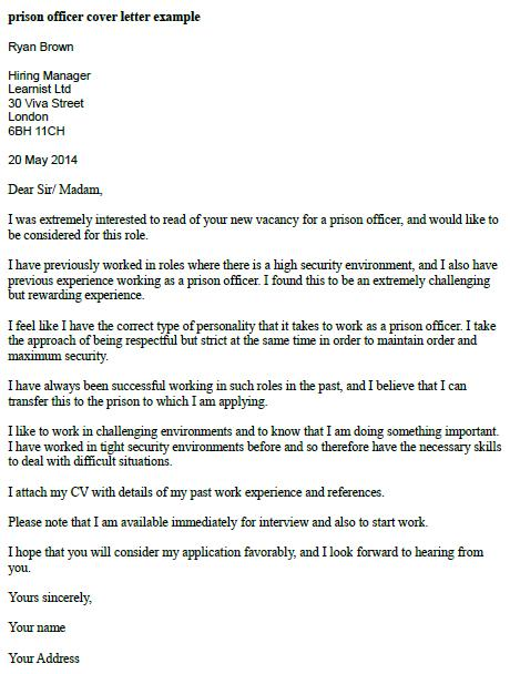 Prison Officer Cover Letter Example  LearnistOrg