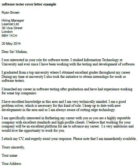 High Quality Cover Letter For Software Tester