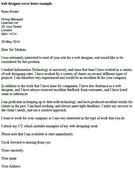 Web Designer Cover Letter Example