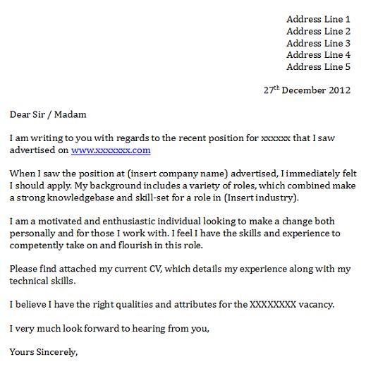 cover letter for cv