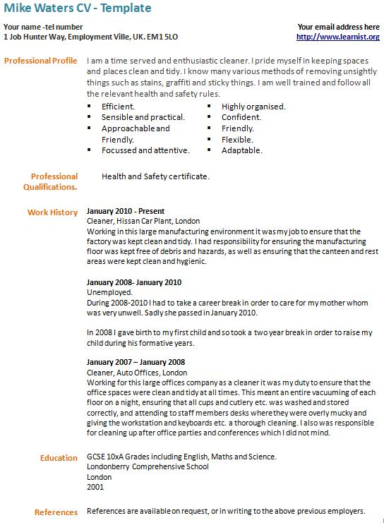 Career Break CV Example - Template - Learnist org