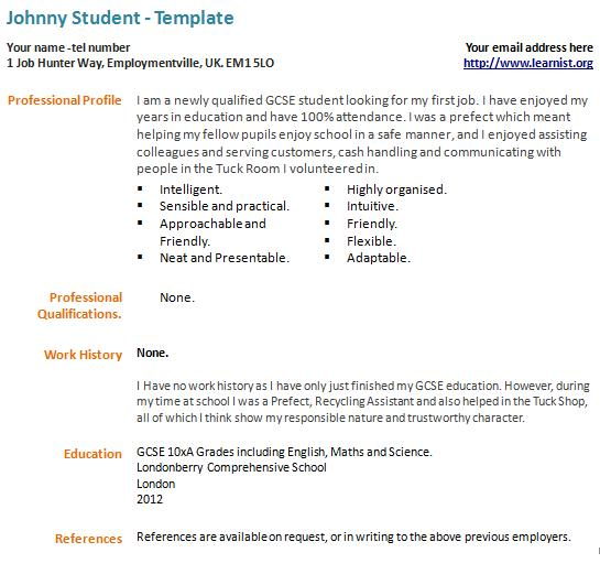 resume sample resume and resume templates on pinterest first job ...