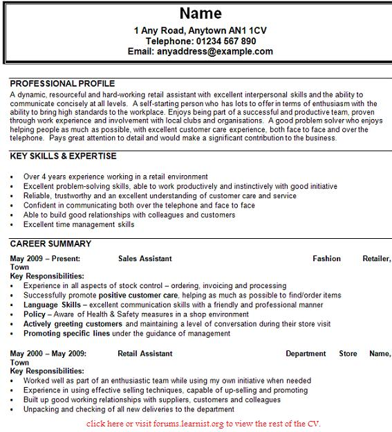 sample cv sales assistant uk resume writing services chicago