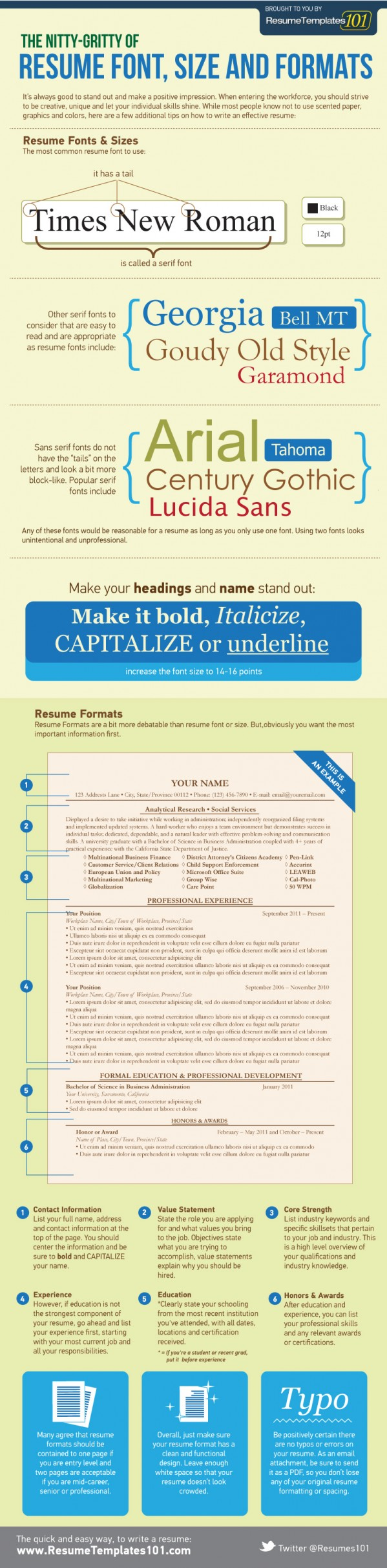 best cv font size and format for a successful job application