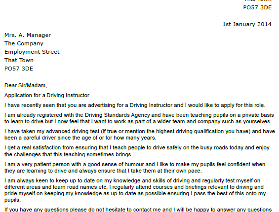 Awesome Driving Instructor Cover Letter Example