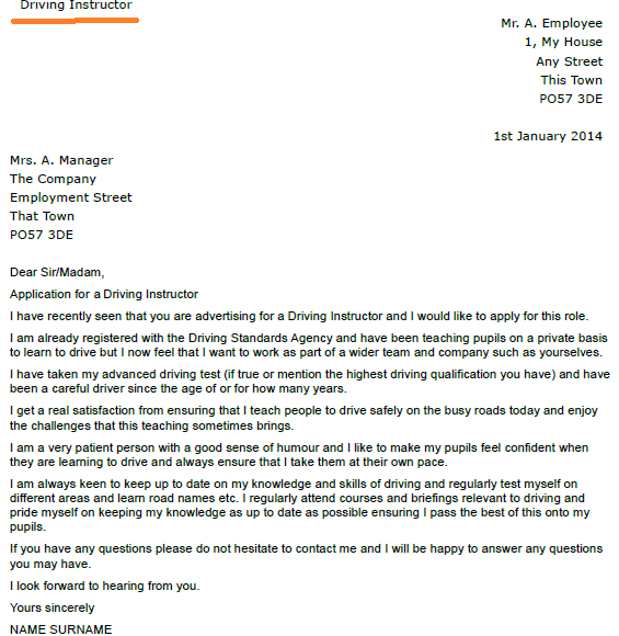 Driving Instructor Cover Letter] Driving Instructor Cover Letter ...