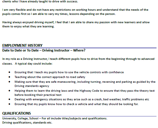 Resume Samples Instructor Resumesdriving Instructor | Driving Instructor Cv Example Learnist Org