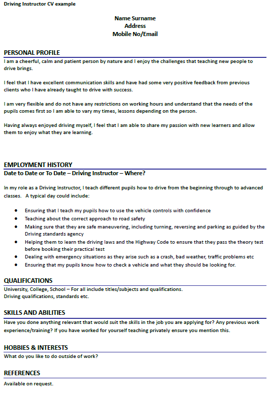 Driving Instructor cv example