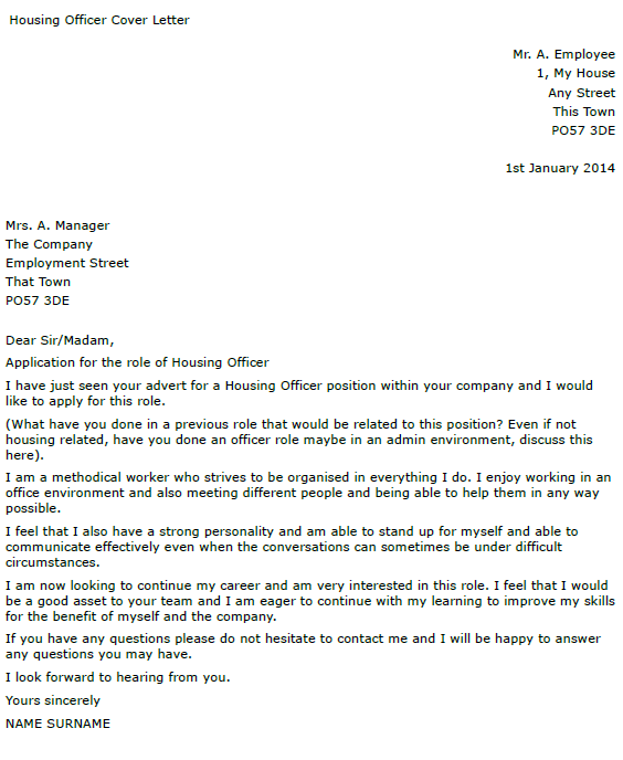 housing officer cover letter example