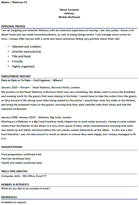 waiter waitress cv examples forumslearnistorg waiters. Resume Example. Resume CV Cover Letter