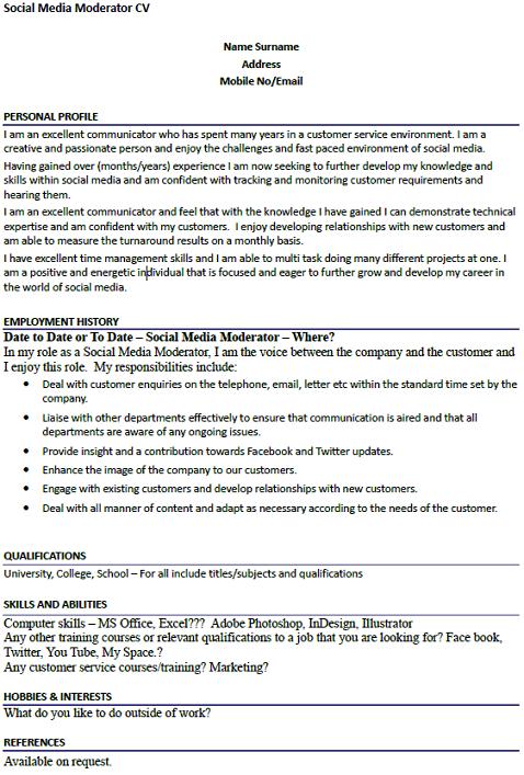 social media moderator cv example