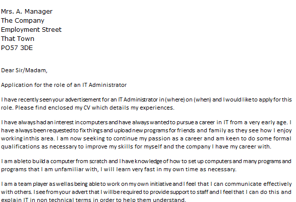 Messaging Administrator Cover Letter