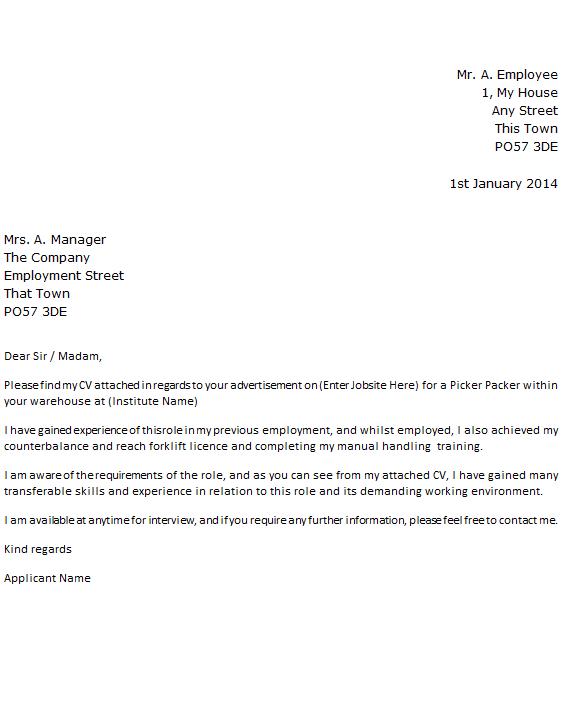 Picker Packer Job Application Cover Letter Example